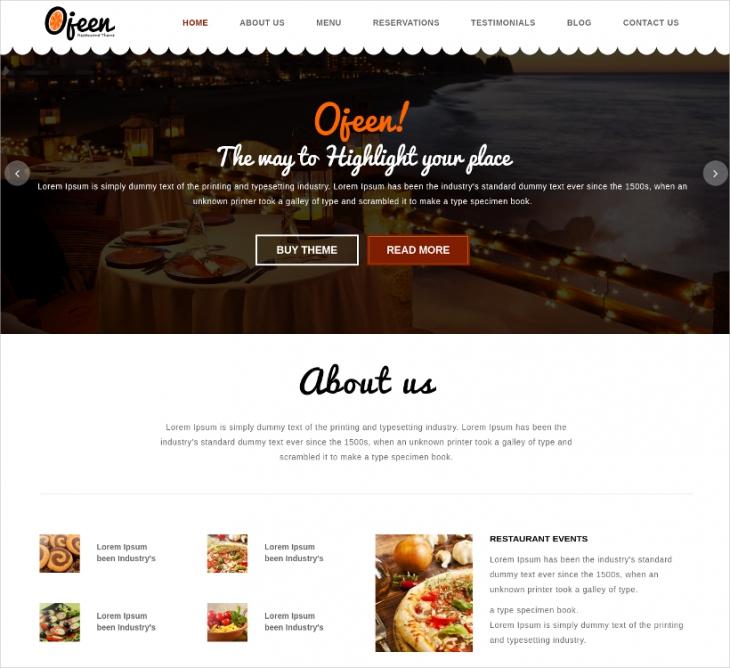 Parallax HTML Restaurant Website Template