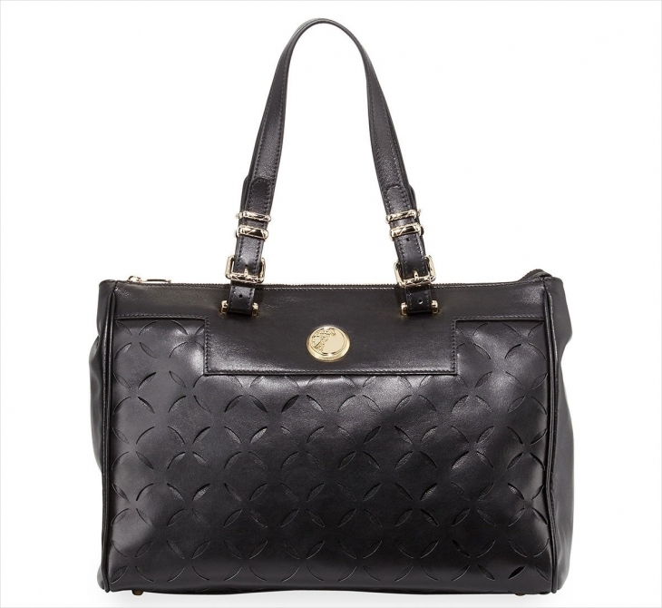 Versace Leather Laser Cut Tote Bag