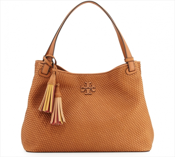 Tory Burch Thea Woven Leather Tote Bag
