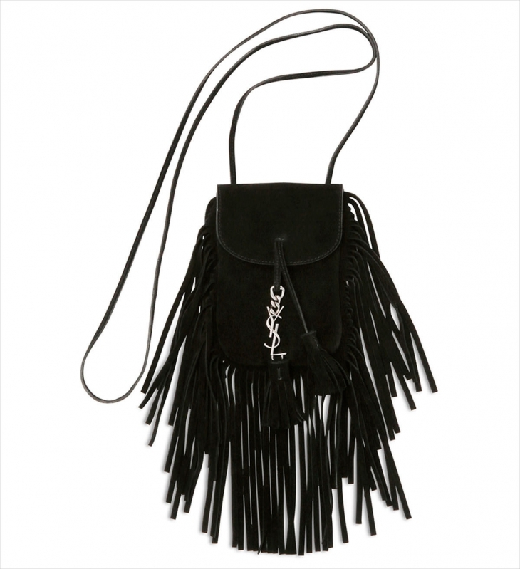 Saint Laurent Studded Calf Suede Bag