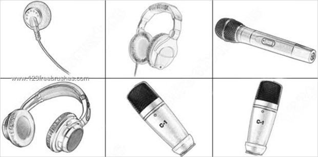 Microphone – Headphone Photoshop Brushes