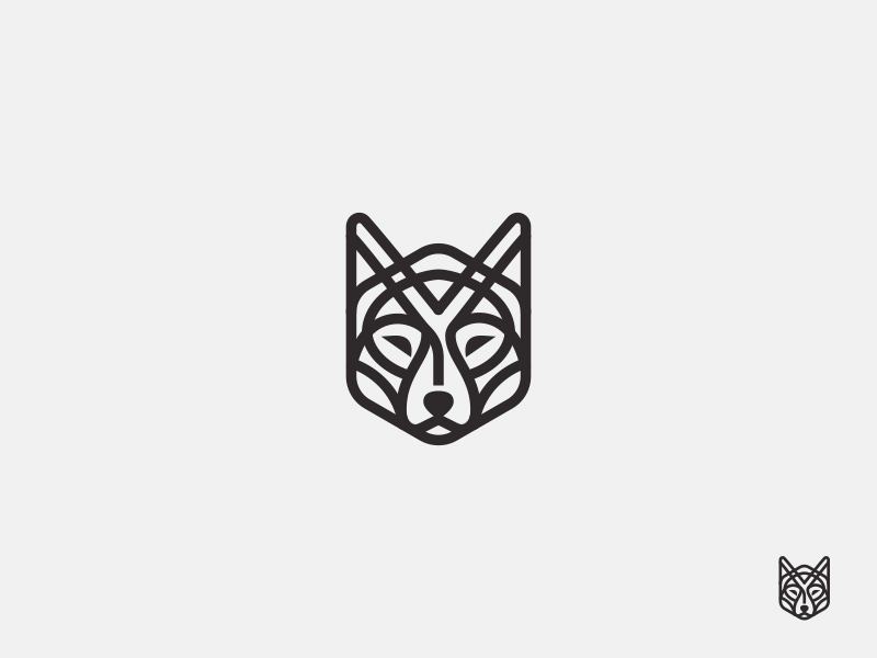 lined wolf logo design