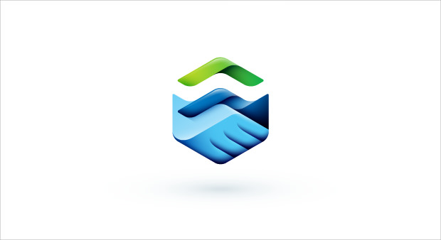Realistic Handshaking Business Logo