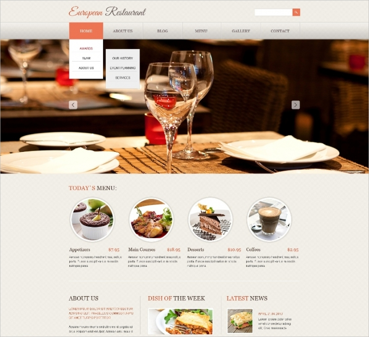 Responsive European Restaurant Template