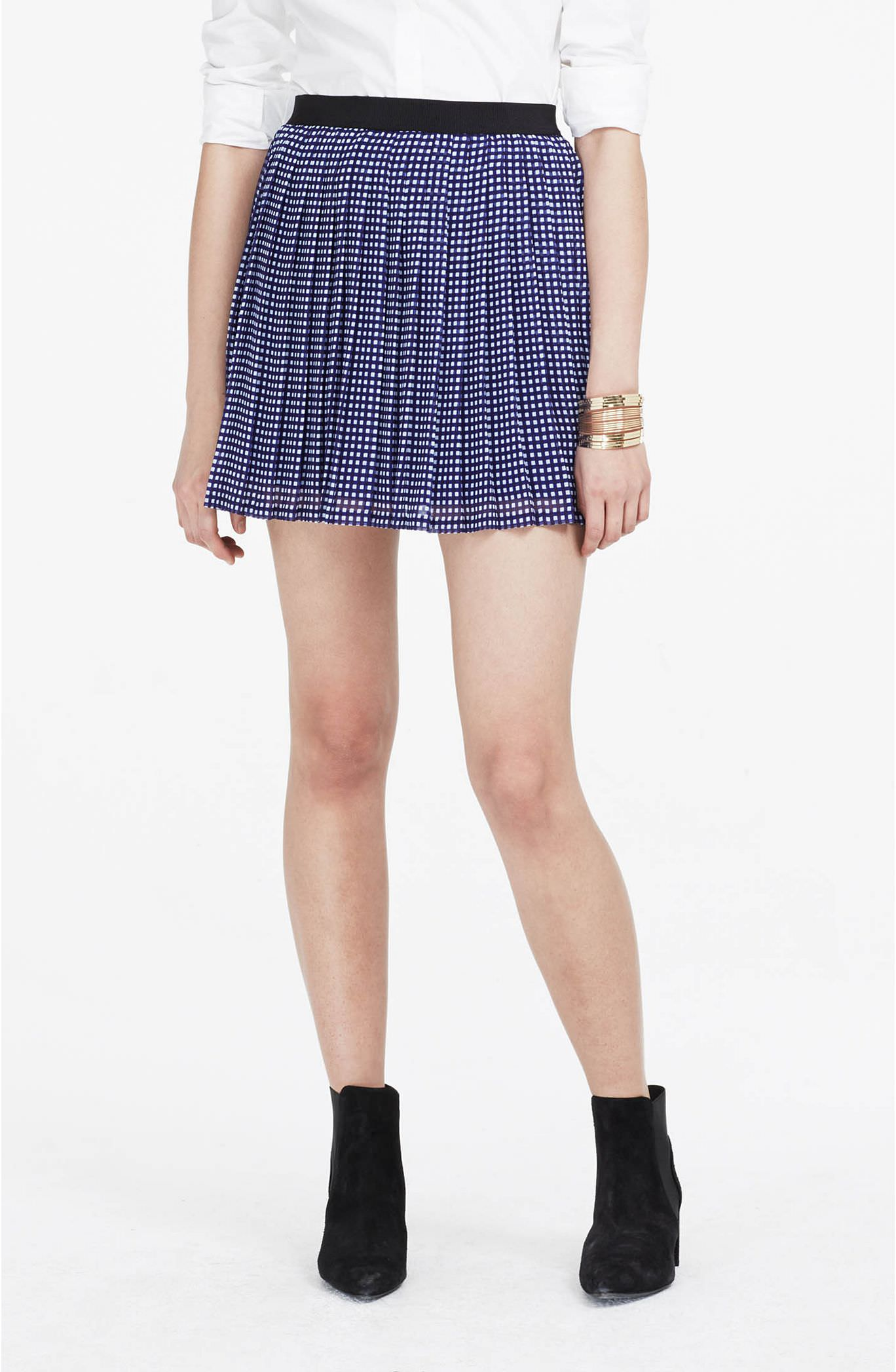Pleated Check Skirt.