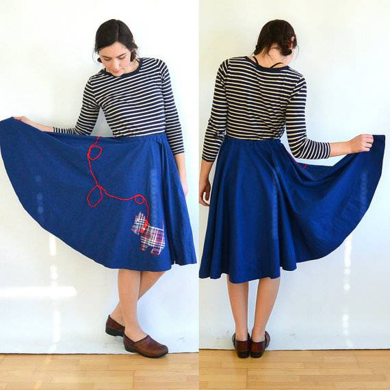Handmade Navy Blue Skirt