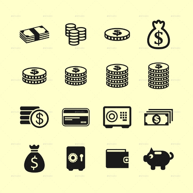 investment money icon set