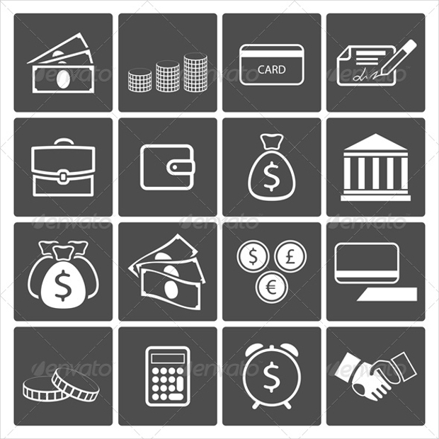 commercial money symbol icons