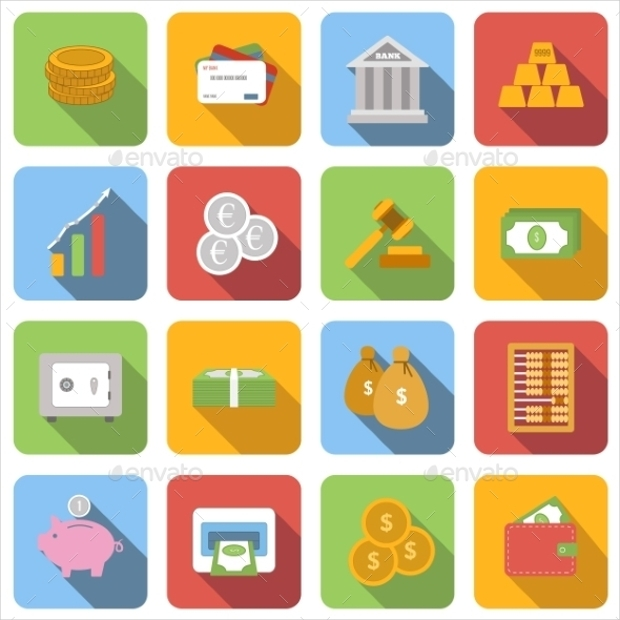 Money Flat Icons Vector Set