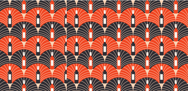 beer bottles art deco pattern