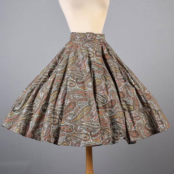 vintage glitter paisley print full circle skirt3