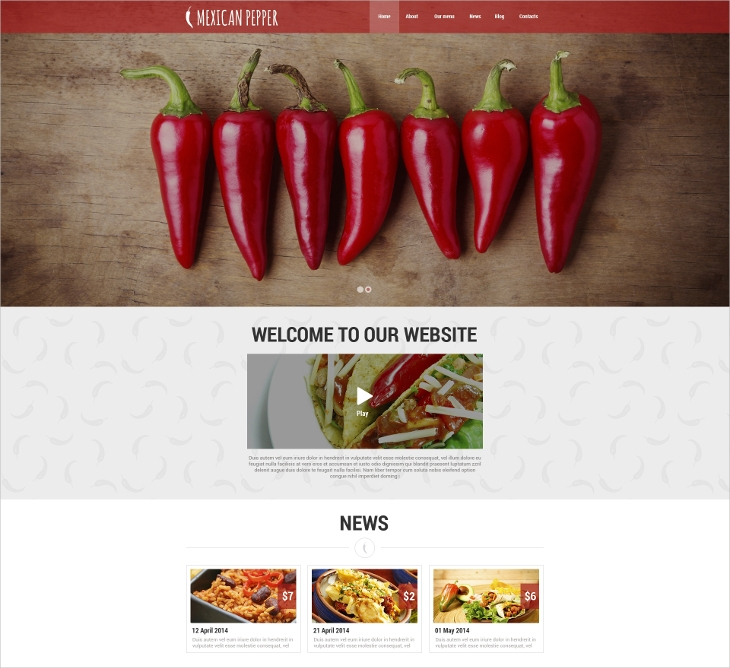 Mexican Pepper Website Template