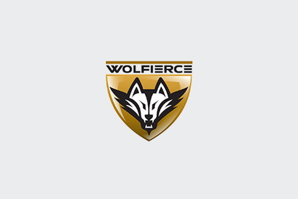 wolf logo design for fitness center