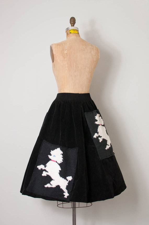 Black Vintage Poodle Skirt