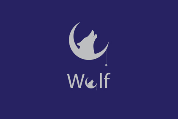 moon wolf logo design