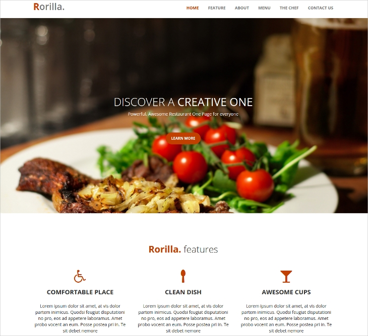 Responsive Restaurant One Page Template