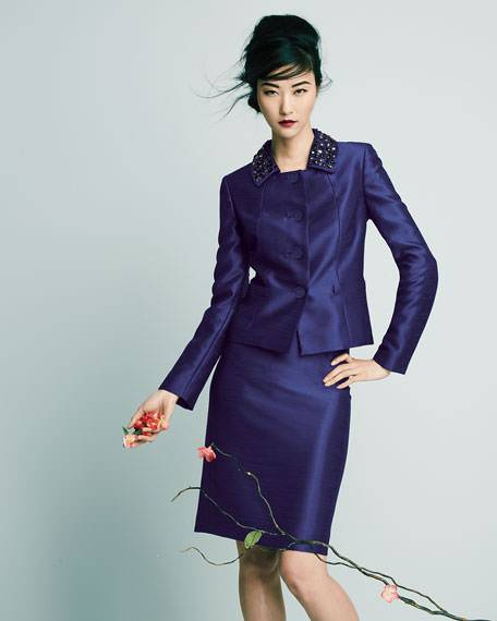 Beaded Collar Skirt Suit