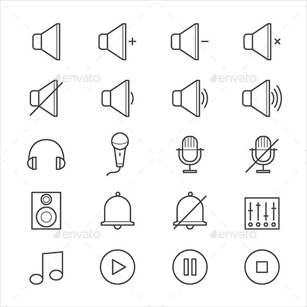 media and music line icons