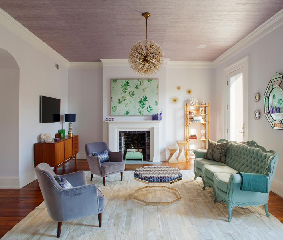 Contemporary Living Room With Sputnik Chandelier