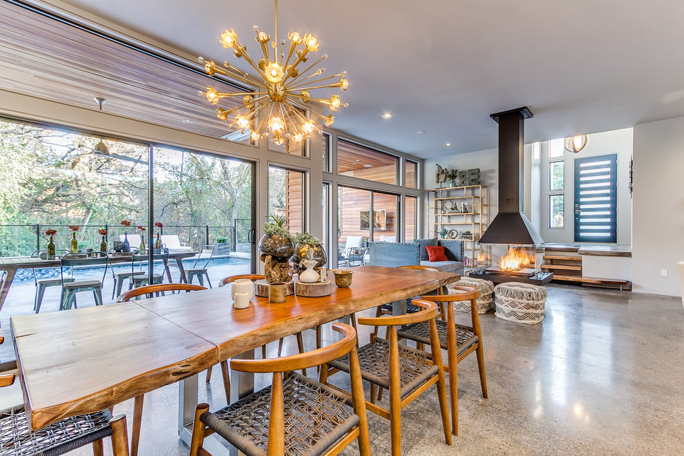 Contemporary dining & kitchen with sputnik chandelier