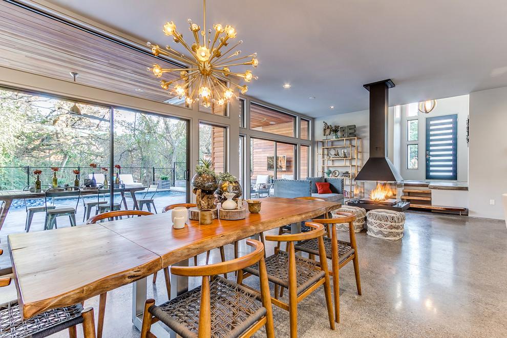 contemporary dining kitchen with sputnik chandelier