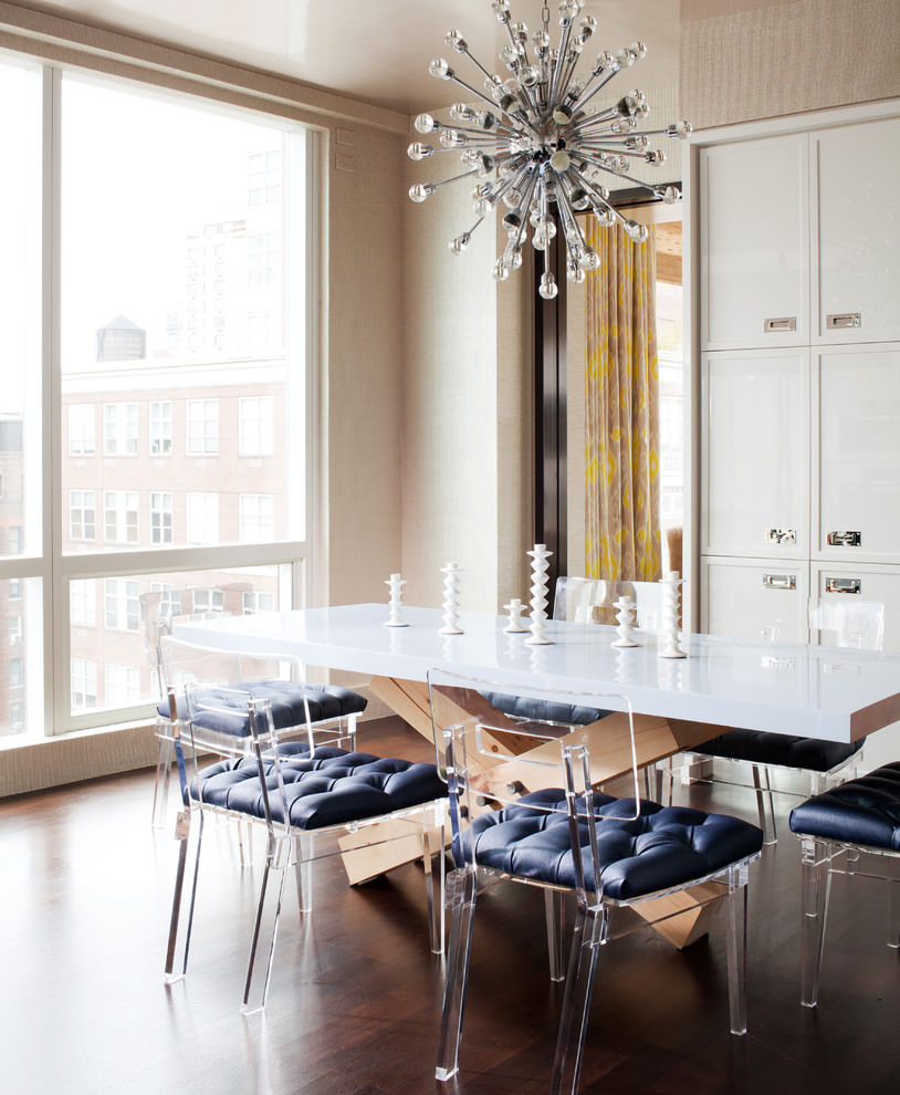contemporary dinning with closet sputnik chandelier