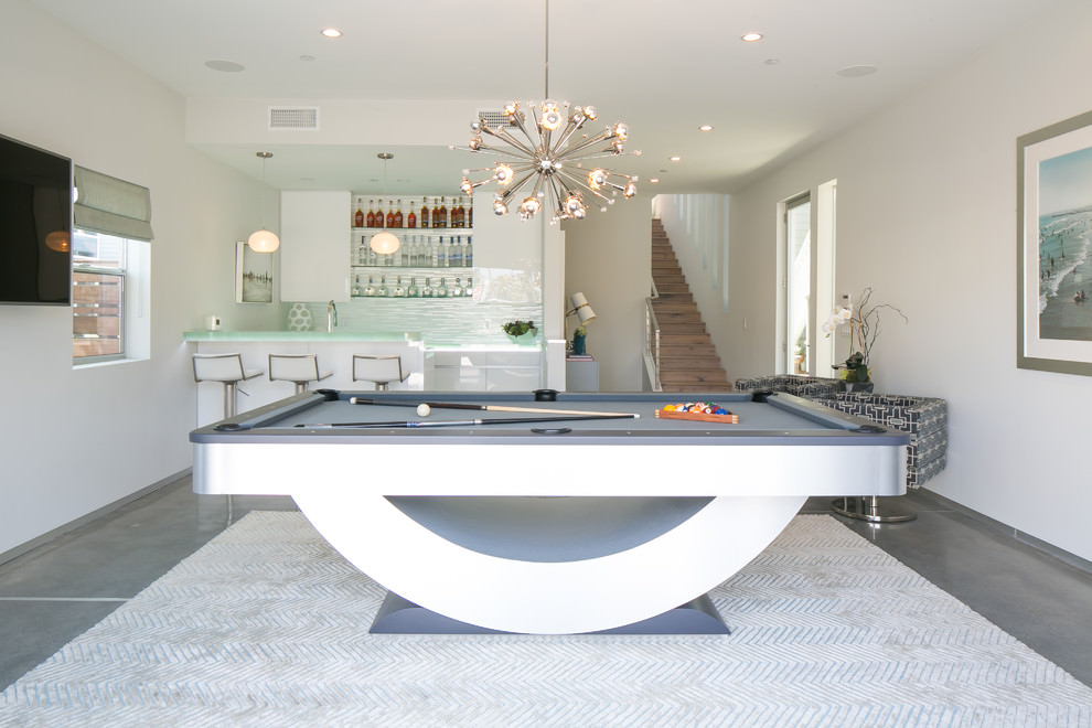 Contemporary family room with descent sputnik chandelier