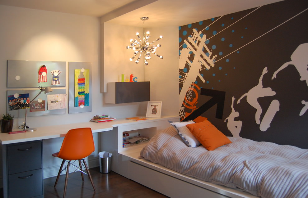 contemporary kidsroom with small sputnik chandelier