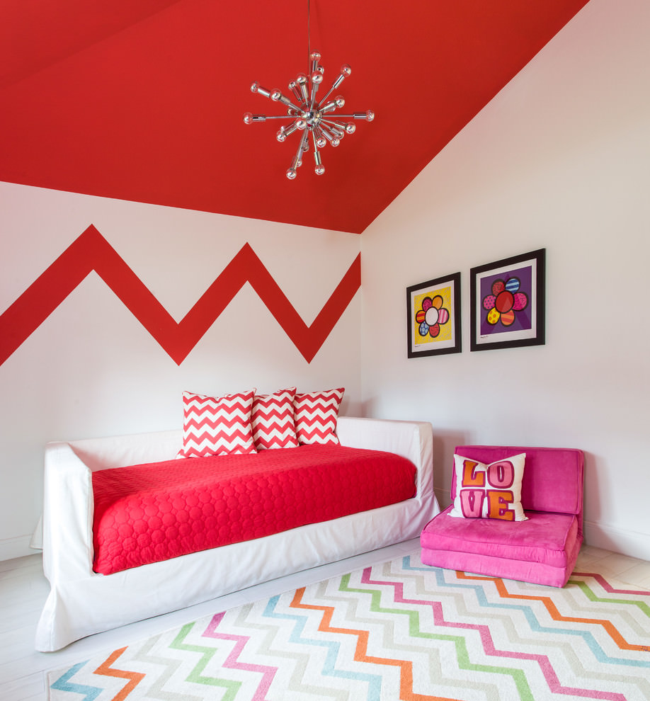 Contemporary kidsroom with sputnik chandelier