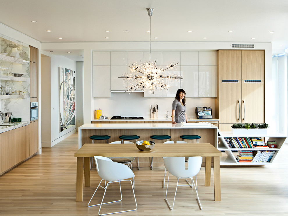 contemporary kitchen with sputnik chandelier