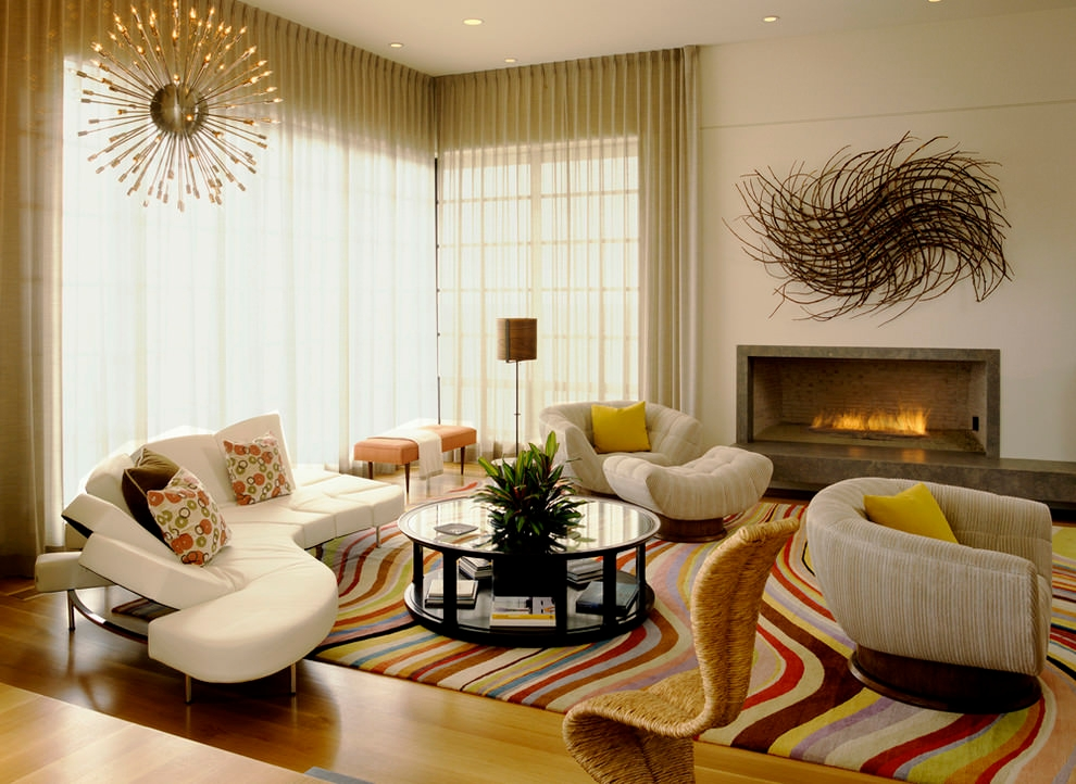 Contemporary living room with sputnik chandelier