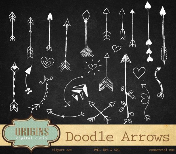doodle arrows vectors