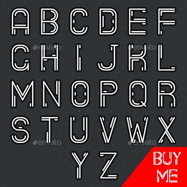 simple line hipster font alphabet