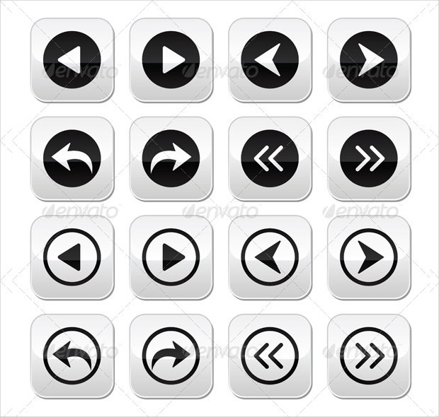 Previous, Next Arrows Vector Buttons Set