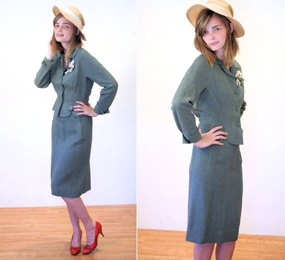 Pencil Skirt & Moss Green Wool Suit