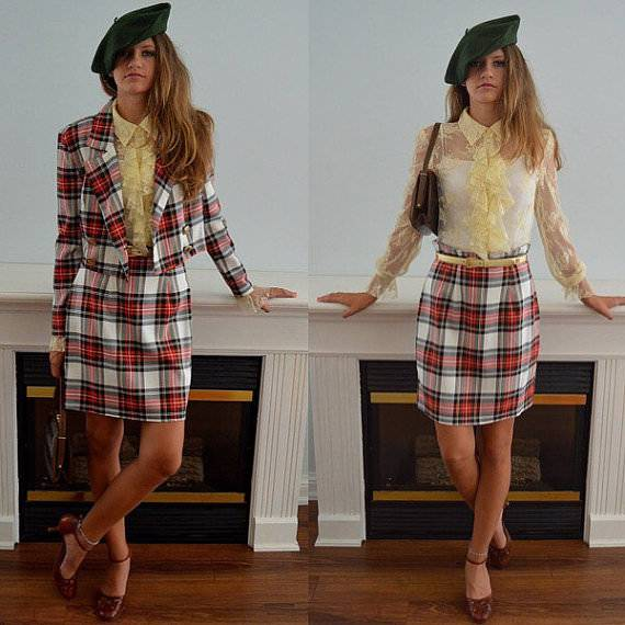 Plaid Skirt Suit