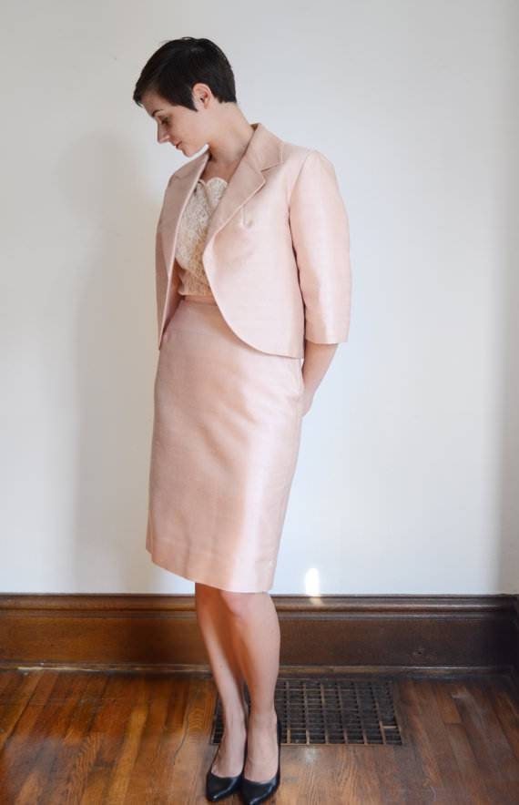 Shimmery Pink Skirt Suit