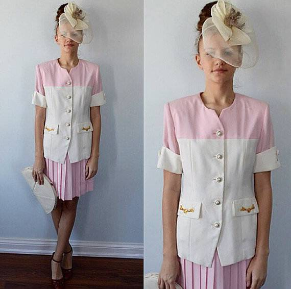 Pink And White 2 Piece Pleated Skirt Suit