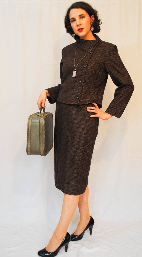 Two Piece Brown Wool Skirt Suit