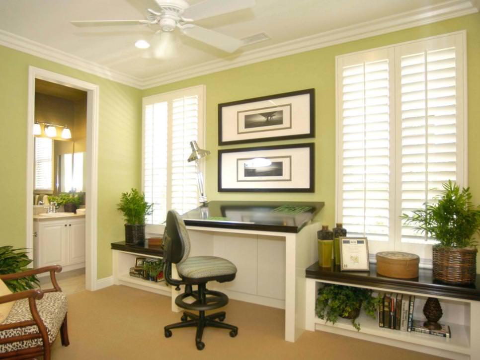 Light Green Home Office With ample natural light