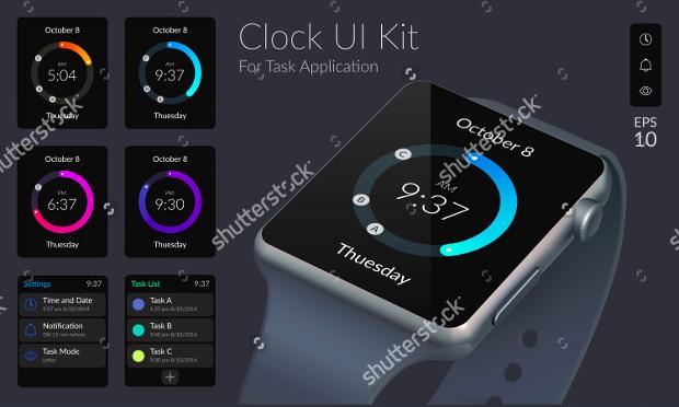 clock app ui design1