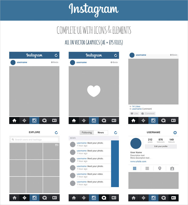 Instagram App UI Design