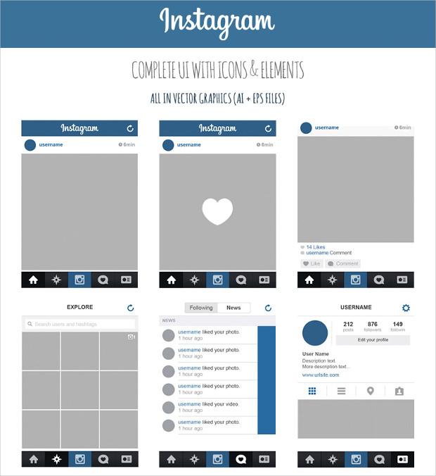 instagram app ui design