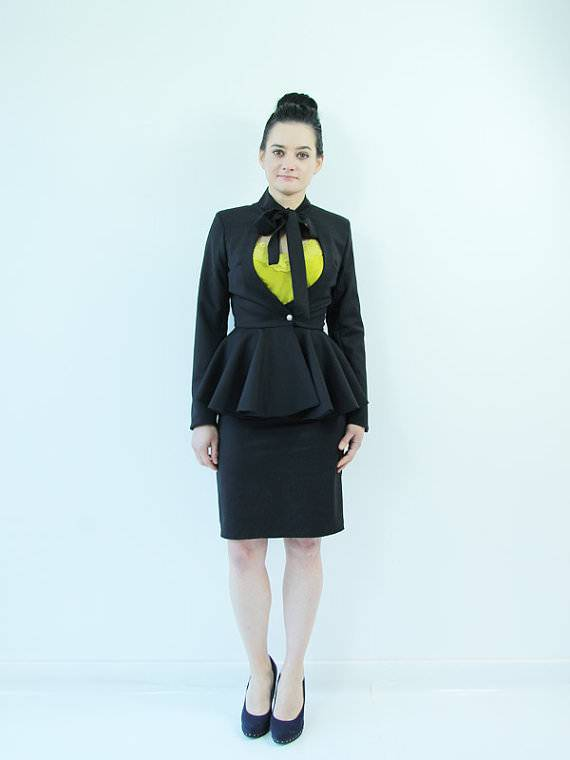 Attractive Black Skirt Suit