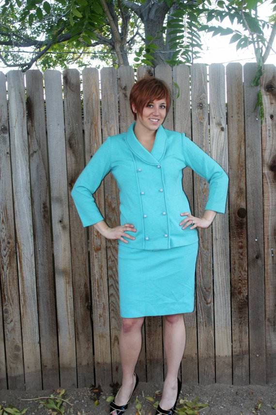 Blue Wool Pencil Skirt Suit