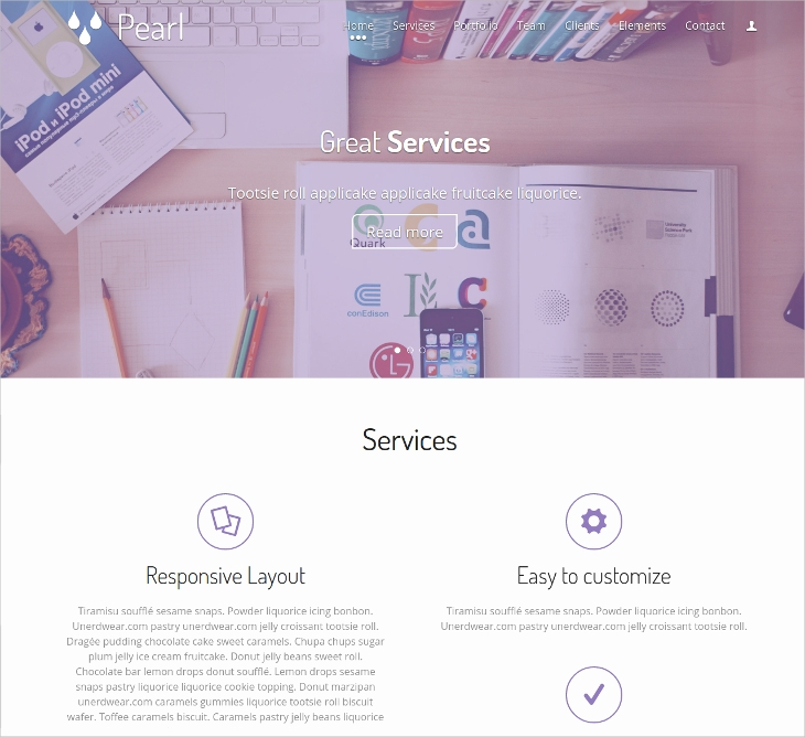 Pearl Responsive Single Page Template