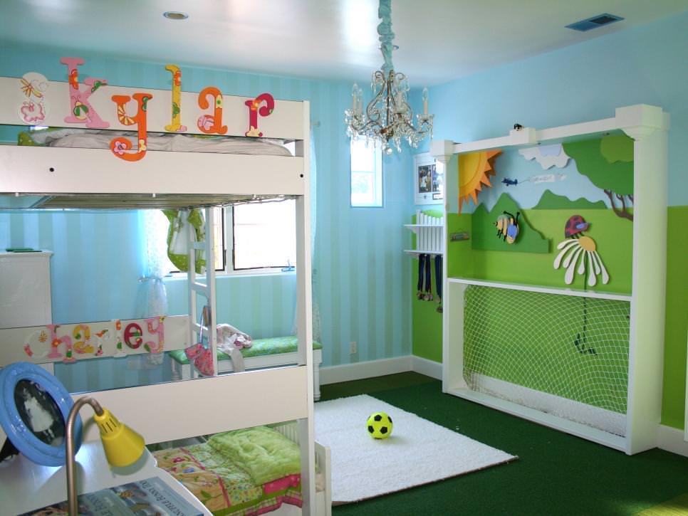 Sky Blue spacious Kid's Bedroom design