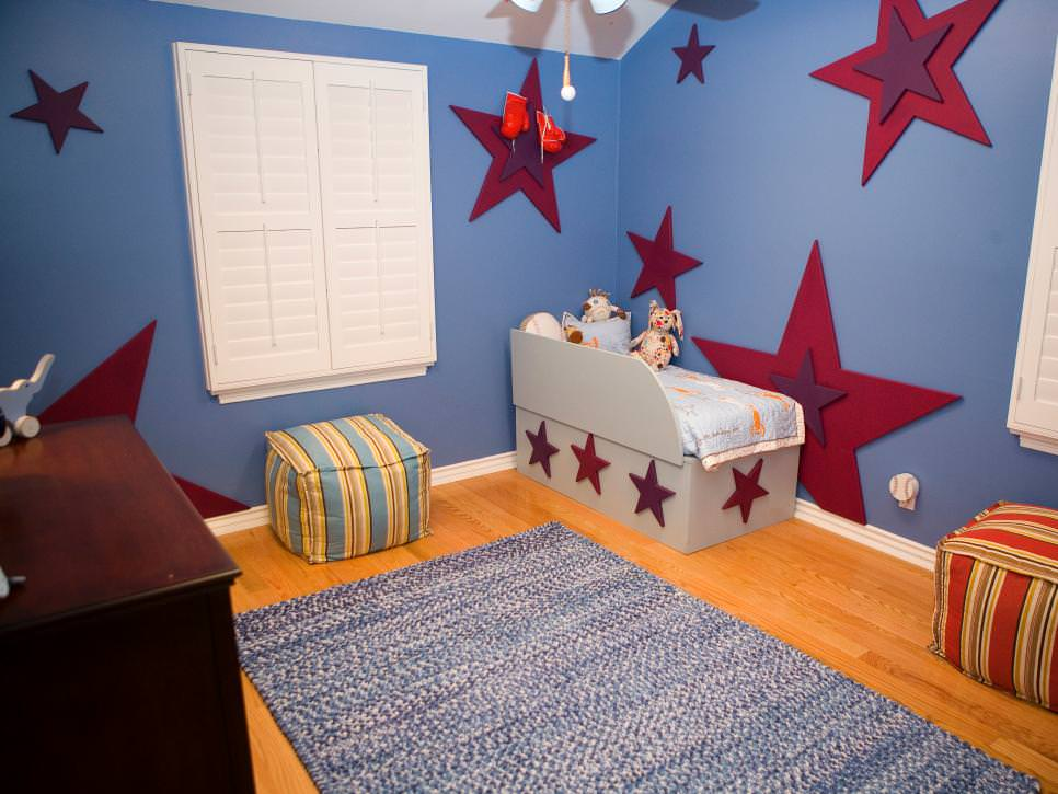 spacious kids bedroom filled with color