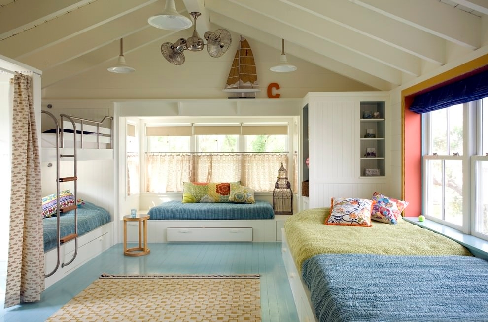 spacious childrens room with beds design