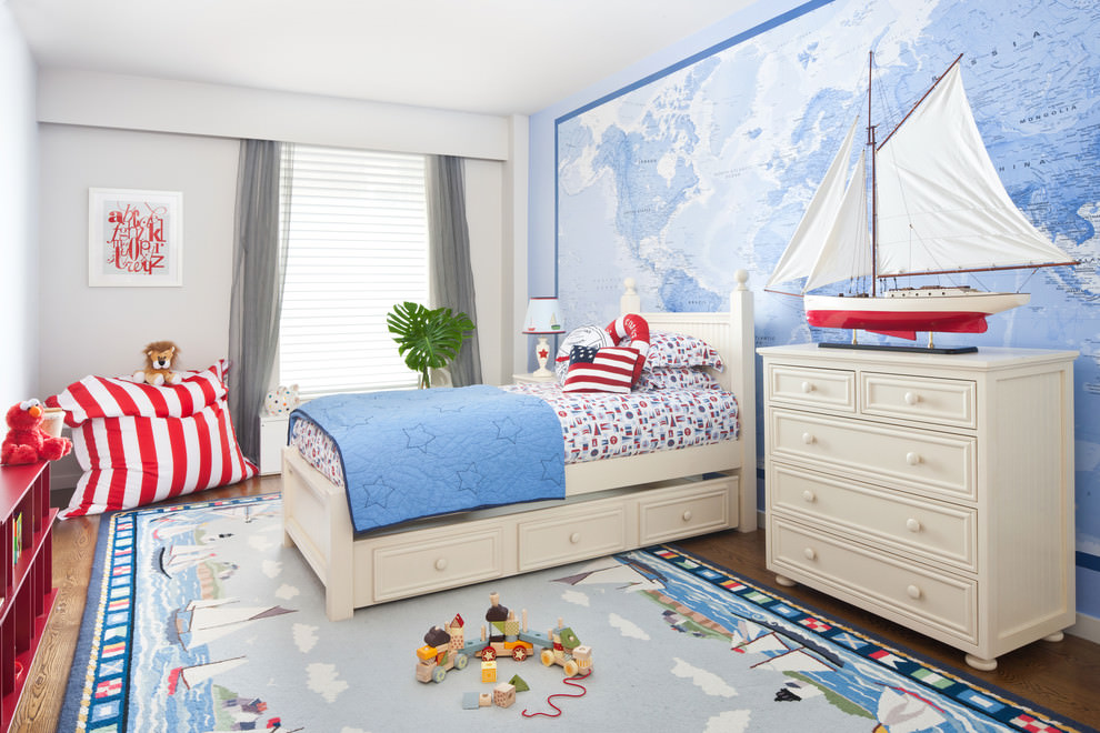 Spacious contemporary colorful walls Kidsroom design